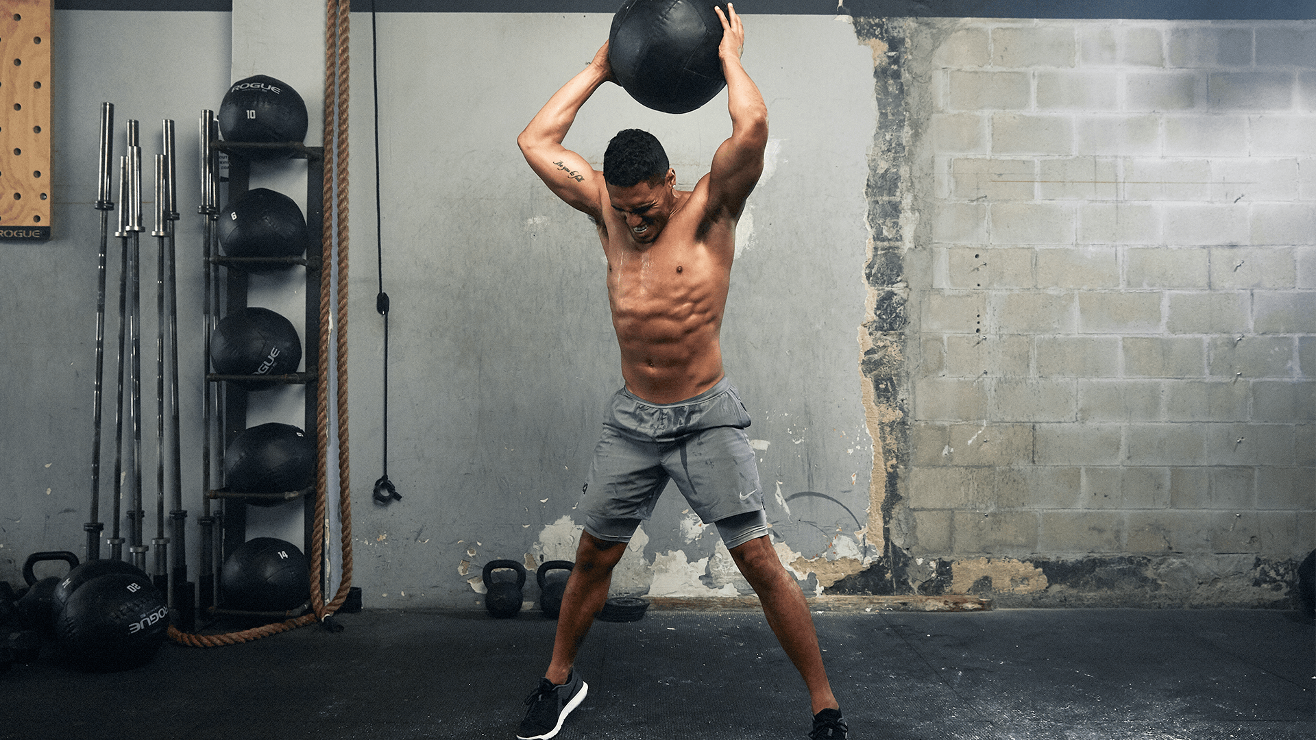 strength routine man with a ball