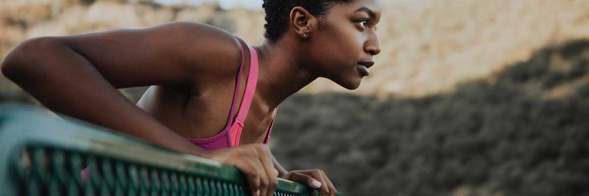 athletic woman preparing for starting exercise